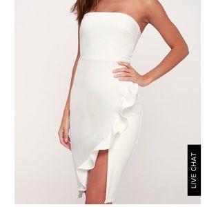 Anika White Ruffles Strapless Bodycon dress small